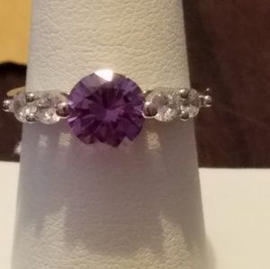 925 Sterling Silver Lab Created Amethyst and CZ